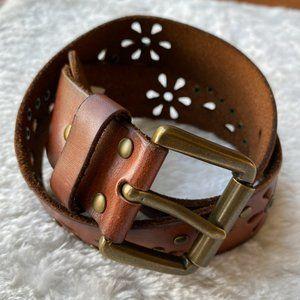 Brown Leather Floral Laser Cut Studded Boho Belt